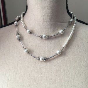 Banana Republic Faux Pearl and Sliver Necklace
